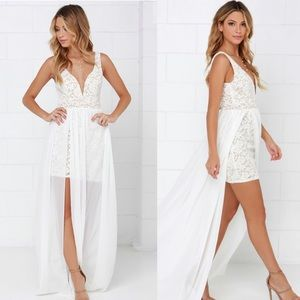 Make Way for Wonderful Off White Lace Maxi Dress